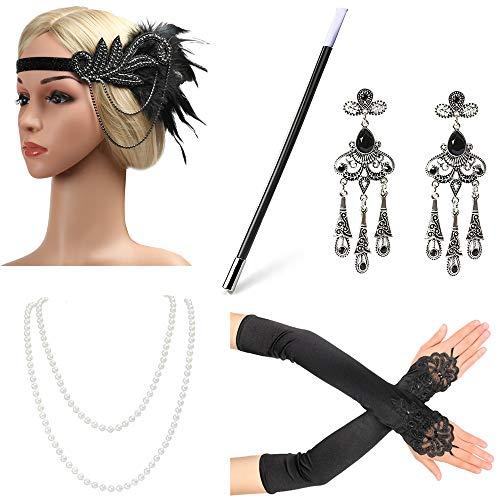 re Zubehör Set Flapper Stirnband, Halskette, Handschuhe, Zigarettenspitze Great Gatsby Zubehör für Frauen ()