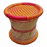 #3: Virasat Furniture & Furnishing Single Cane Bar Bamboo Stool/Muddha For Outdoor/Indoor/Furnishing/Color: Multi
