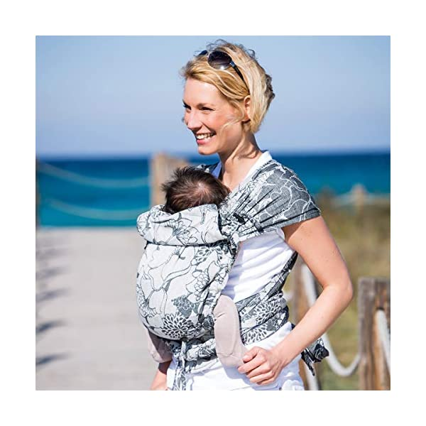 Hoppediz Hop-Tye Conversion Baby Carrier Sling (Timbuktu) Hoppediz The hop-tye conversion is a carrying aid from birth up to approx. 2.5 years You can use the hop-tye conversion for front and rucksack carrying - suitable for a waist up to 160 cm Side parts that can be gathered provide an even better pouch forming of the back panel 7