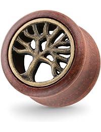 Piercingfaktor® Flesh Ohr Plug Tunnel Holz Double Flared Lebensbaum Braun Gold