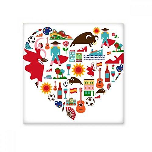 Spanien Spanisch Herz Stierkampf Flamingo Gitarre Fan National Flagge Keramik Bisque Fliesen für Dekorieren Zimmer Küche Keramik Fliesen Wand Fliesen Medium (Gitarre Flagge)