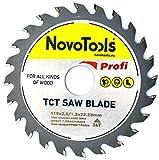 NOVOTOOLS TCT Kreissägeblatt 115x 22,2mm x 24Zähne für Winkelschleifer, zum Schneiden jeden Holzes