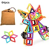 Magnetic Blocks,iDeep 64pcs Magnetic Blocks Building Set Toys For Girls Boys Magnetic Tiles Set Educational Building Construction Toys For Toddler Kids With Carry Bag