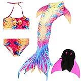 Das beste Mädchen Bikini Badeanzüge Schönere Meerjungfrauenschwanz Zum Schwimmen mit Meerjungfrau Flosse Schwimmen Kostüm Schwanzflosse - Ein Mädchentraum- Gr. 140, Farbe: A08