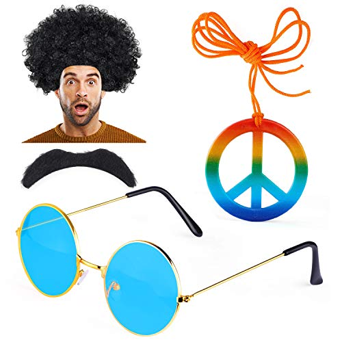 Hippie 1960 Kostüm - Haichen Hippie Kostüm Herren 1970er 60er Jahre Afro Perücke Hippie Sonnenbrille Schnurrbart Friedenszeichen Halskette Kostümzubehör (A)