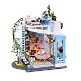 Kinder DIY Puppenhaus Spielzeug,DIY Dollhouse Roof Top Handgemachte Holz Art House, Puppenhaus Modell ohne Staubschutz