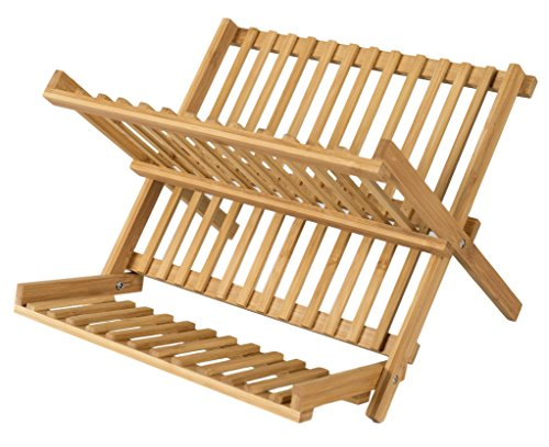 elbmöbel–Estante de madera de bambú 29x 33x 28cm–Escurreplatos plegable perfecta para plato de desayuno (pequeño) y tazas–Escurridor de vajilla y cesta de madera, natural