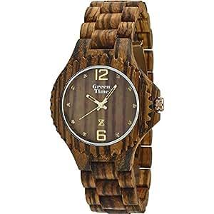 Green Time Unisex Orologio da polso analogico al quarzo legno zw012C