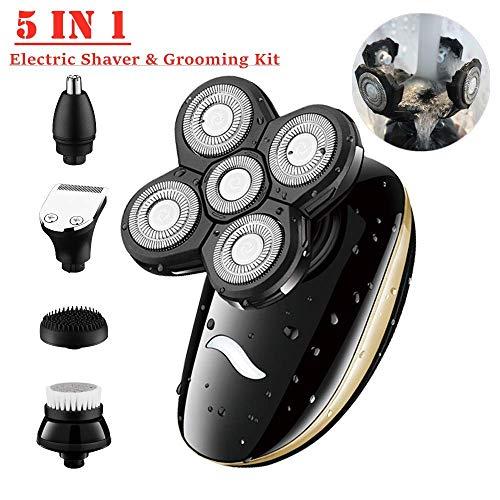 Elektrorasierer,5 in1 wasserdichtes USB 5D Rasierapparat Trimmer-Pflegeset für Männer mit 5 Schwimmköpfen, Nasenhaarschneider,Gesichtsrasierer, Set für die trockene und feuchte Pflege von Männern