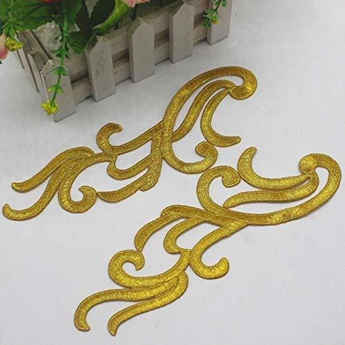 AiCheaX Lace Crafts - 3 Paare/los Gold Gestickte Applizierte Spitze Cosplay Kostüm Patches Gold und Silber Blume Eisen auf Borten 21,5 cm 9 cm - (Farbe: Gold) -