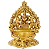 Red Bag Goddess Gaja Lakshmi Brass Deepam For Temple