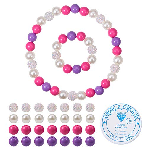SUNNYCLUE 1 Set DIY Chunky Perlen Bubblegum Halskette Armband Set Mode Baby Girls'Jewelry Kunst und Handwerk, Kit, Rose & Purple