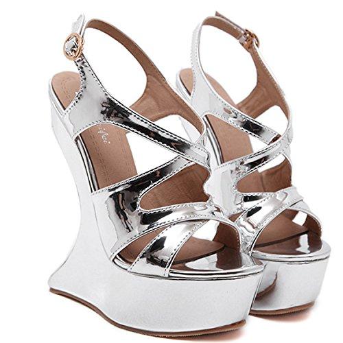 Oasap Women's Buckle Strap Platform Strange Sandals silver