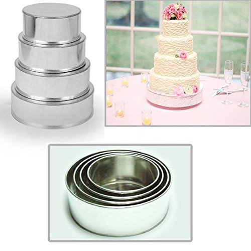 "4 Tier Round Multilayer Birthday Wedding Anniversary Cake Tins - 6"",8"",10"",12"""
