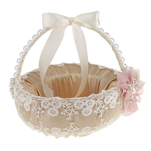 Gazechimp Beige Satin Blumenmädchen Korb Blumenkinderkörbchen mit Spitze Blumen Griff
