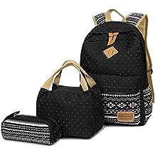 FEWOFJ Mochila Escolar Chicas Lona vintage Backpack Canvas Casual + bolsa del almuerzo + Monedero grande