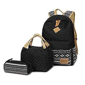 51jLrSj4DWL. SS300  - FEWOFJ Mochila Escolar Chicas Lona Vintage Backpack Canvas Casual + Bolsa del Almuerzo + Monedero Grande 3pcs (Cactus Verde)