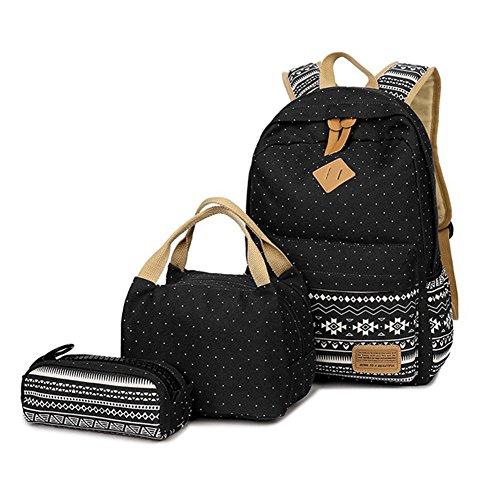 FEWOFJ Mochila Escolar Chicas Lona vintage Backpack Canvas Casual + bolsa del almuerzo + Monedero grande 3pcs (Negro)
