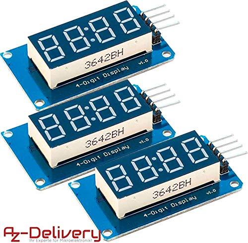 AZDelivery 3 x 4 Bit Digital Tube LED Display Modul I2C mit Clock Display für Arduino und Raspberry Pi mit gratis eBook!
