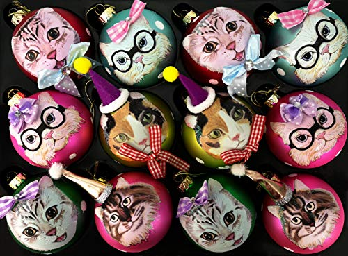 My-goodbuy24 12er Set Luxus Weihnachtskugeln Echtglas Glaskugeln Weihnachten weihnachtsdeko Christbaumkugeln Set 8 cm Katzen Mix - inkl. Display