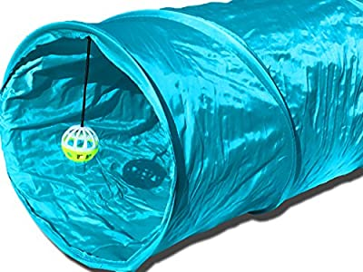 "90cm (36"") Premium Quality Pet Tunnel Toy - Strong & Durable - Blue Crinkle Material Design - Small, Medium & Large Cats or Dogs and Other Small House Animals - 100% Money Back"