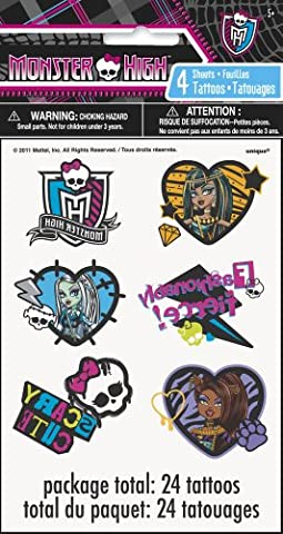 Monster High Tattoos [24 Tattoos Per Package]