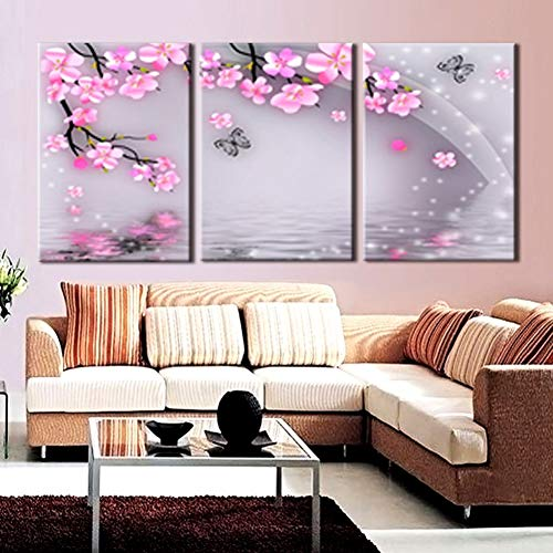 YXWLKG Dekorative Gemälde Modulare Bilder Wandkunst Malerei 3 Panel Pfirsich Blumen Schmetterling HD Print Leinwand Mode Für Wohnzimmer Decor Poster -
