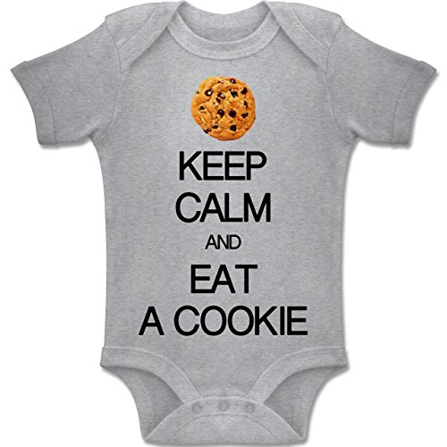 b022f620a2 Up to Date Baby - Keep Calm and eat a Cookie - 3-6 Monate - Grau meliert -  BZ10 - Baby Body Kurzarm Jungen Mädchen