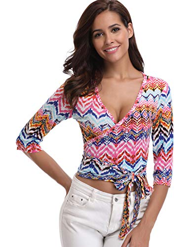 Wrap Tops für Frauen Blusen Damen Tiefem V-Ausschnitt T-Shirts Floral Bedruckten Halben Ärmeln Gürtel Bowknot Bohemian Wellig - XL -