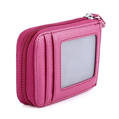 Mcvilla Leder Kredit Kartenetui Kartenmappe Visitenkartenetui Scheckkartenetui Portemonnaie Geldbörse RFID Schutz (Lila) Pink