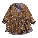 Yazidan Bluse FrauBettwäsche aus Baumwolle Drucken Doppelschicht Fälschung Zwei Stück Lose V-Ausschnitt Mantel Klein Blumen Mode Damen Herbst Winter Outfits Asymmetrischer Saum Sweatshirt(Gelb,2XL)