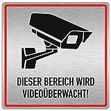 Schild Videoüberwachung, Bereich videoüberwacht, 20x20cm, Aluverbund silber gebürstet, edle Optik