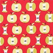 Tissu bio rouge avec des pommes vert clair par Copenhagen Print Factory