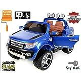 FORD RANGER Wildtrak de lujo, Azul Lacado, producto BAJO LICENCIA, con mando a distancia 2.4Ghz Bluetooth, apertura de puertas y capó, os asientos en cuero, Ruedas EVA Suave
