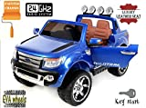Ford Ranger Wildtrak Luxury Elektrisches Auto für Kinder, 2.4Ghz Fernbedienung, 2 MOTOREN, Zweisitzer in Leder, Weiche EVA Räder, blau Metallic-Lackierung, MP3 USB SD, Original-Ford-Lizenz