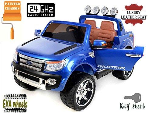 Ford Ranger Wildtrak -di lusso, Macchina Elettrica per Bambini, Toy Car, 2 motori, a due posti in pelle, Ruote EVA morbide, Blu Dipinto, 2,4 GHz Bluetooth, USB, SD card, licenza originale Ford