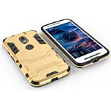 Trifty Heavy Duty Shockproof Kick Stand Hard Dual Rugged Armor Back Case Cover For Motorola Moto G5 Plus - Gold