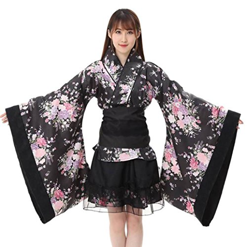 Fuibo [ Damen Rock ] Frauen Festival Cosplay Lolita Japan Kimono Floral Maid Bogen Top Rock Set (Schwarz, L) (Lolita Plissee Rock)
