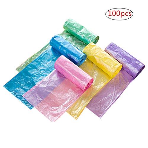 Standard Küche Mülleimer (Kunststoff Trash Taschen Garbage Müllsack Müllbeutel für Badezimmer Küche Wohnzimmer 5–7Liter Mülleimer Multi Farben 100Stück/Pack)