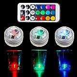 OWIKAR LED-Kerzenlichter mit Fernbedienung, 10er-Pack, LED RGB Farbwechsel, wasserfest, batteriebetrieben, Akzentlichter für Aquarium, Teich, Hochzeit, Vase, Halloween, Weihnachten
