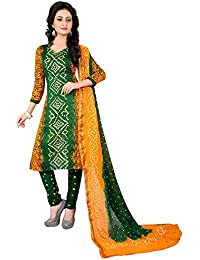 Taboody Empire Daily Wear Green Satin Cotton Handi Crafts Bandhani Work With Straight Salwar Suit For Girls And...
