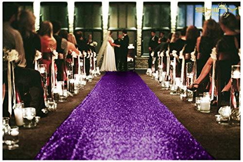 shinybeauty Größe Emblems Größe ft-wedding Gang runner-colour, Glitzer Pailletten Gang Läufer für Hochzeitsfeier Party/Kinder Party Dekoration 4FTx20FT violett