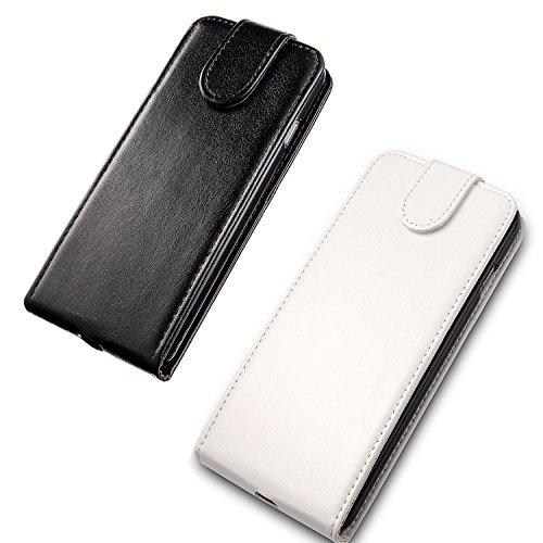 JZK® 2 x Custodia cover case in pelle per iphone 6 plus iphone 6s plus, stile a libro e portafoglio, porta carte di credito con chiusura magnetica e supporto orizzontale, custodia flip per iphone 6 pl 2 custodia per iphone 5 5s nero + bianco