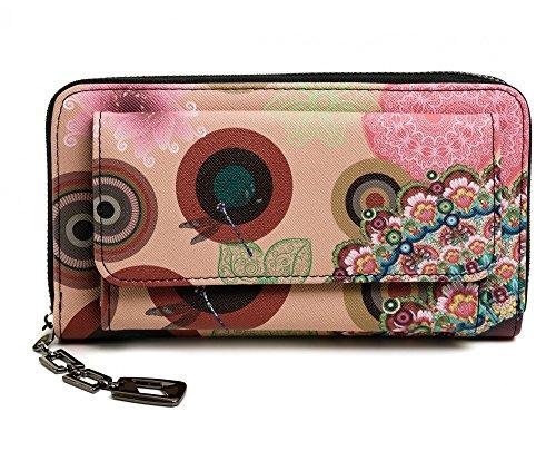 Damen Geldbörse Portemonnaie bunt groß mit Blumen-Print XL Damenbörse mit Reißverschluss und extra viele Kartenfächer in Farben Schwarz Blau Beige Rosa Rot Pink von Established SEVENTY9, Farbe:Beige