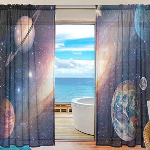 DOSHINE Vorhang Universum Galaxie Weltraum Vorhänge Fenster Vorhang für Jungen Mädchen Wohnzimmer Badezimmer Schlafzimmer 139,7 x 198 cm 2 Panels, Polyester, Multi, 55