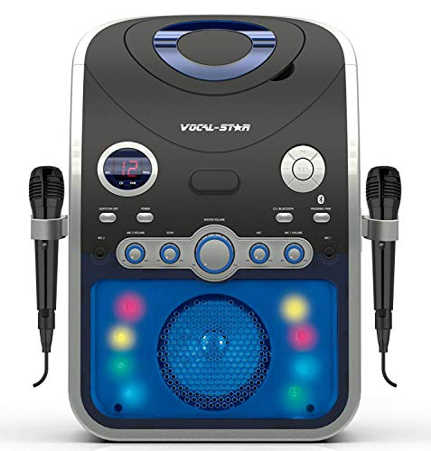 Vocal-Star PartyBox CDG CD Bluetooth Karaoke Machine With 2 Pin EU Plug With Led Light Effect 2 Microphones & 40 Songs (english manual)