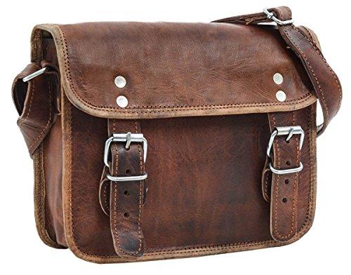 """Handtasche Gusti Leder Nature Jane M. 7,9\"""" Umhängetasche Tablettasche iPad Mini 7,9\'\' Magnetverschluss Vintage Retro Party Braun K40m"""
