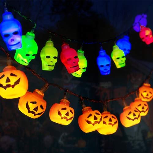 GIGALUMI 2er Set Lichterketten Kürbis Skelett Halloween Lichter Deko Batterie betrieben für Halloween, Weihnachten, Ostern, Karneval usw.
