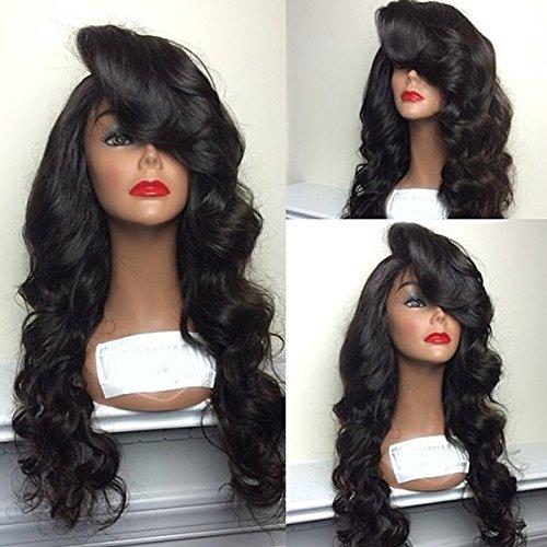 qd-tizer Synthetische Spitze vorne Perücke lang body Wave Haar Perücken mit Pony Natürliche Farbe 66cm