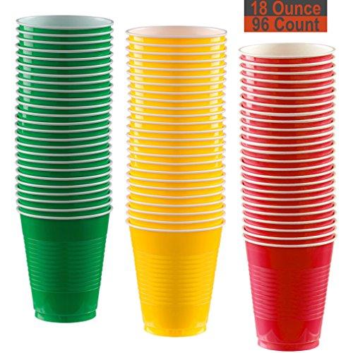 18Oz Party Cups, 96Count-Festive grün, Sunshine gelb, rot-32je Farbe